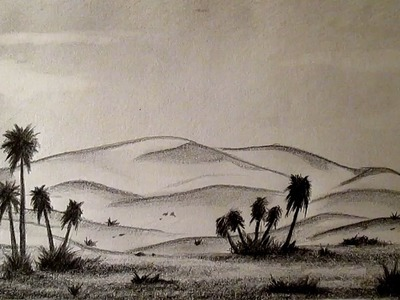 Cómo dibujar un desierto fácil paso a paso, cómo dibujar paisajes a lápiz HD