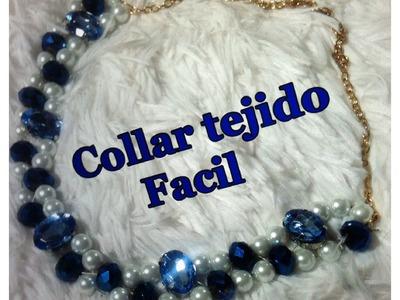 Como Hacer,Collar Tejido Facil y Elegante en Azul