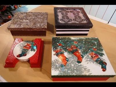 Como hacer efectos metalizados sobre cajas navideñas