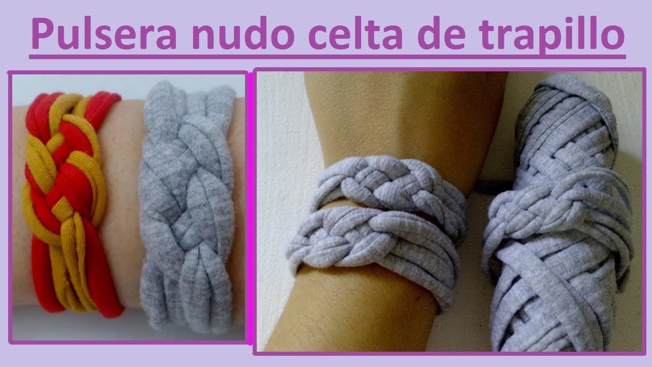 DIY. Pulsera de nudo celta con trapillo. T-shirt bracelet- Celtic knot- Sailor knot.