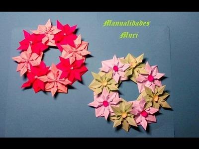 Manualidades. Corona de flores de papel para Navidad, muy bonita