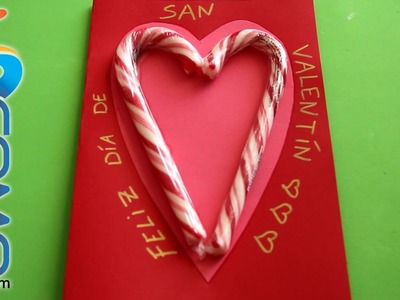 Postal de San Valentín con caramelos