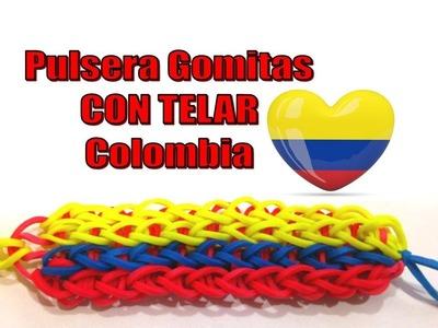 PULSERA DE GOMITAS BANDERA COLOMBIA CON TELAR.BRAZALETE BANDERA COLOMBIANA