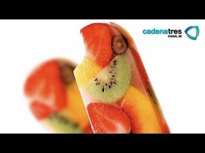 Receta de como preparar paletas heladas de frutos rojos. Receta paletas de hielo