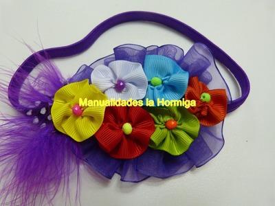Rosetones multicolor en cinta para decora accesorios del cabello