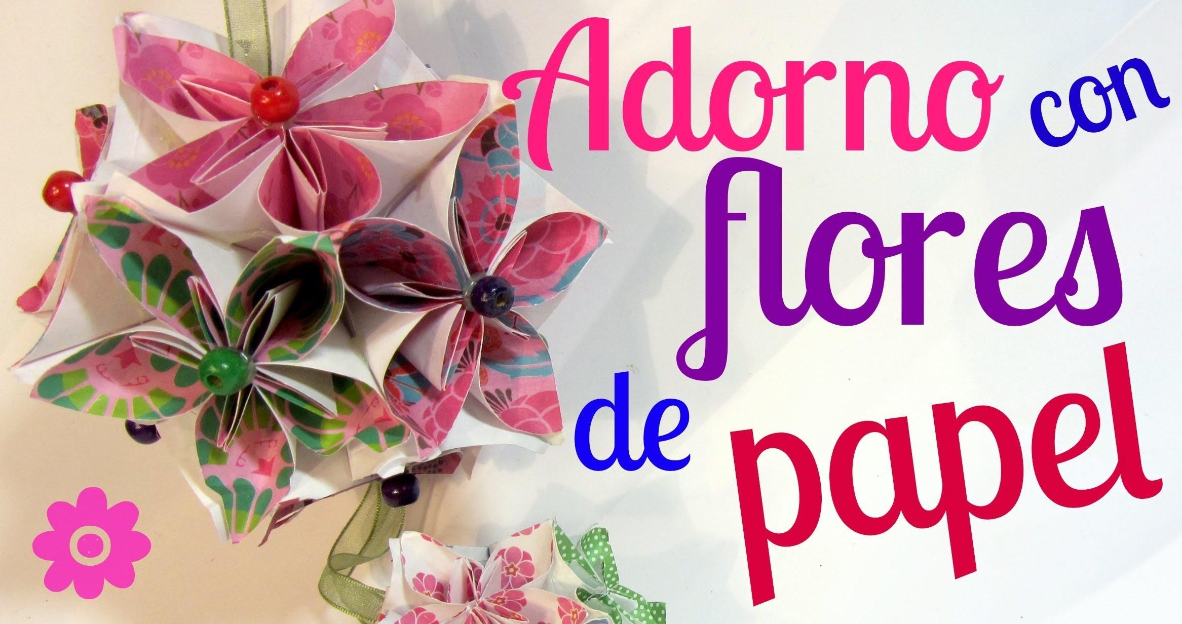 Tutorial: Adorno con flores de papel y adorno de navidad.