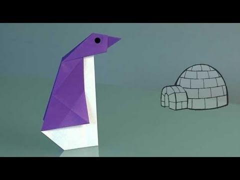 Un pingüino de papel, papiroflexia