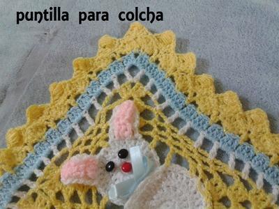 COLCHA DE CONEJOS A CROCHET PARTE 3 DE 3 (PUNTILLA)