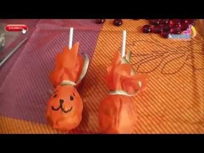 DIY Halloween Paletas disfrazadas de calabaza