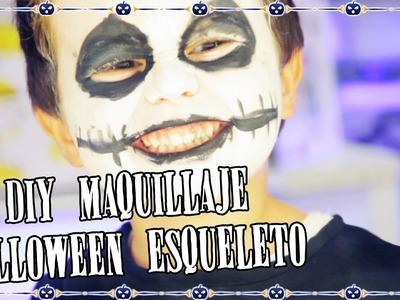 DIY maquillaje Halloween esqueleto para niños