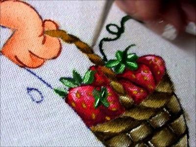 Pintura en Tela   Canasto y Cabello   Niña Fresa P