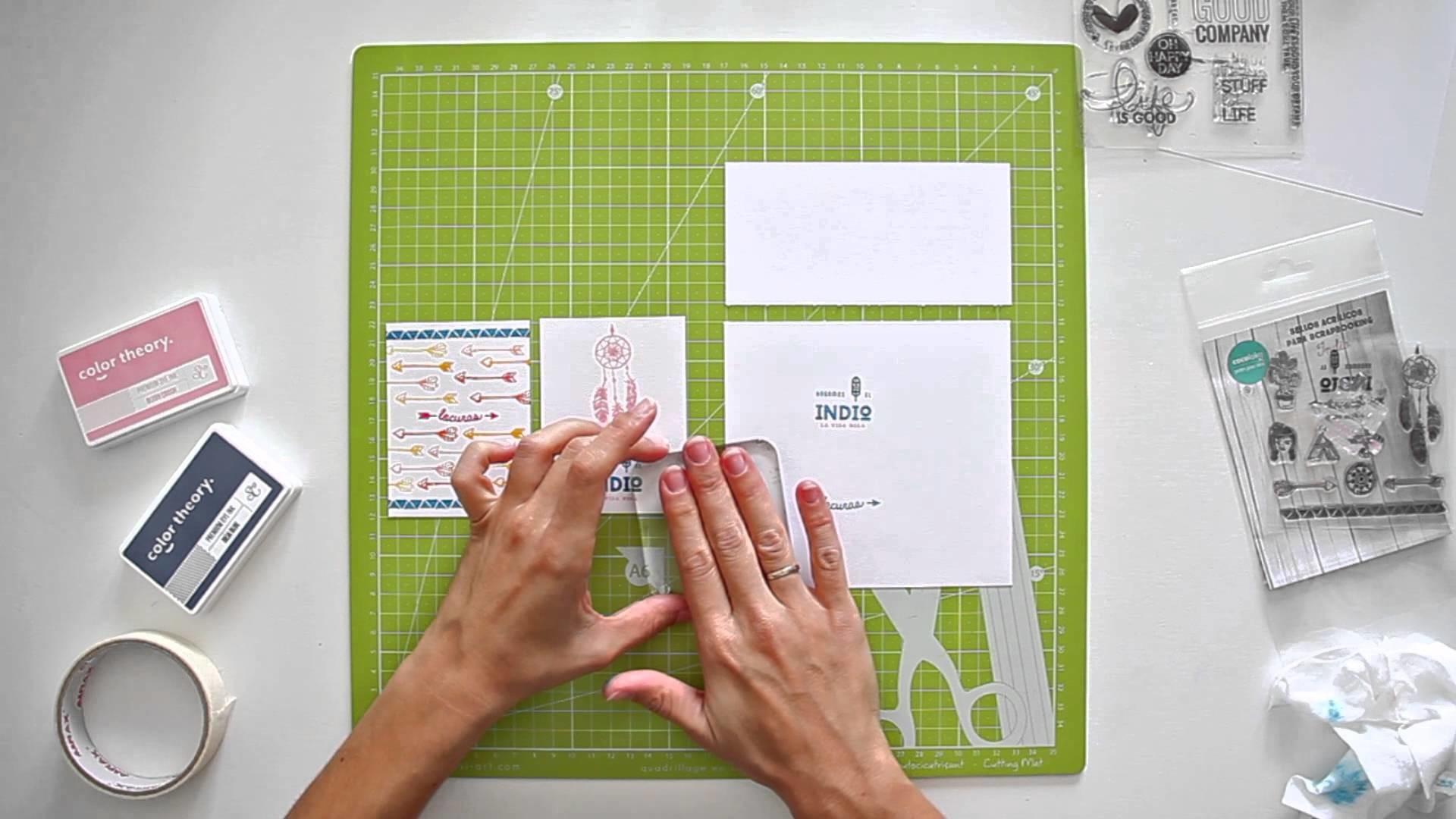 Cómo estampar con sellos acrílicos a dos tintas - TUTORIAL Scrapbook