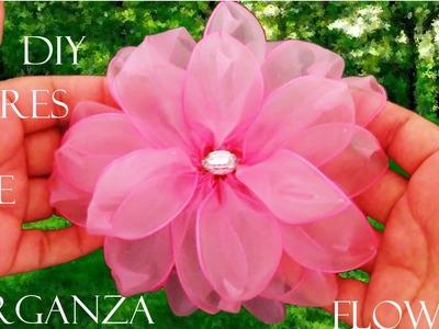 DIY flores  en cintas de organza- Dahlias flowers in organza ribbons