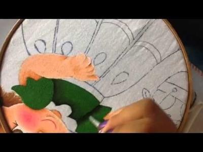 Pintura en tela niña naranja # 4 con cony
