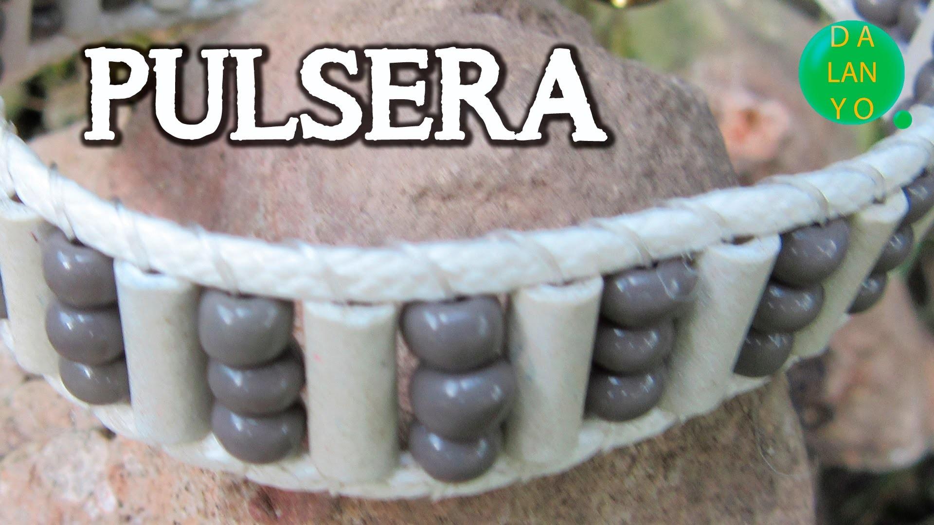 Pulsera cuero blanco y canutillos de cerámica | Tutorial | DIY