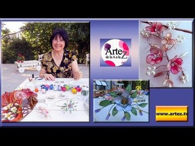 Cómo decorar vinchas, peinetas con flores de alambre con esmalte