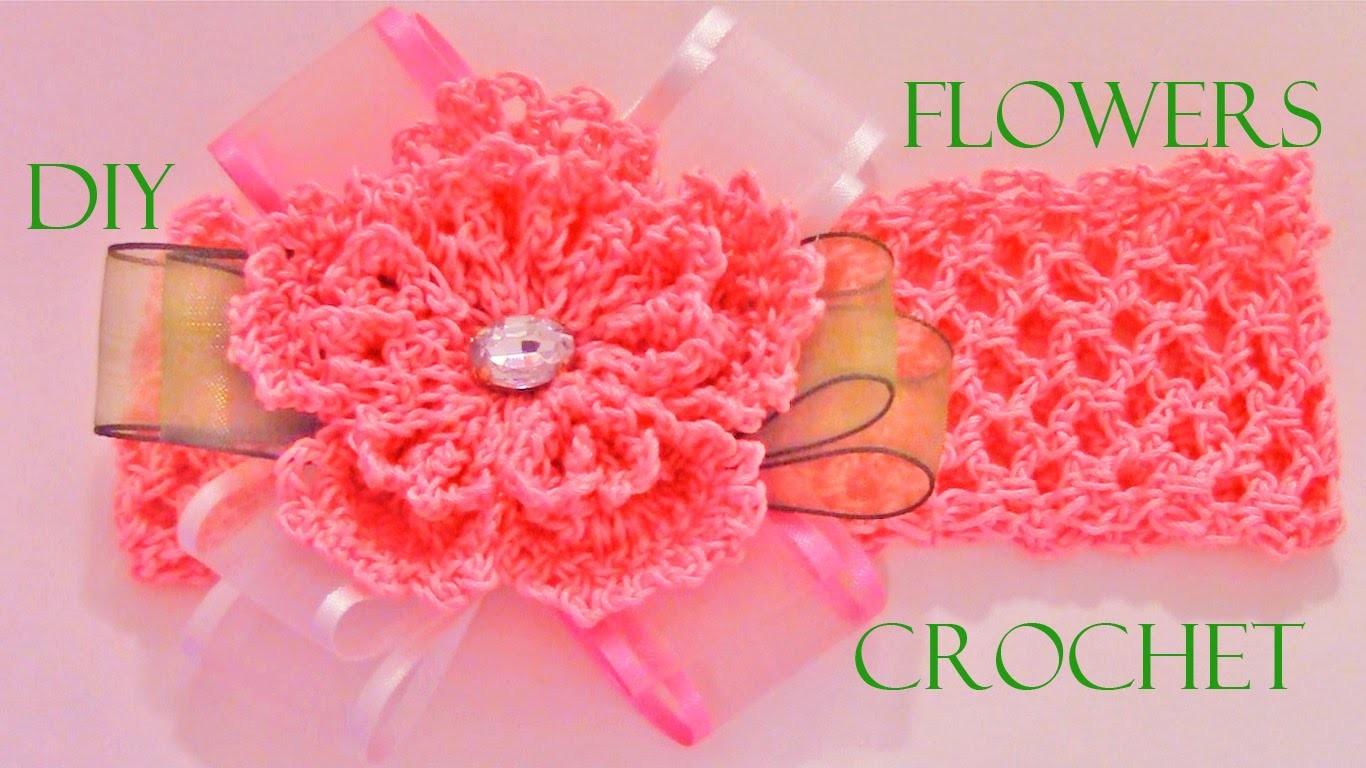 DIY flores a crochet en moños y diademas - crochet flowers in ribbons and headbands