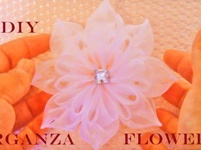 DIY flores Kanzashi hermosas en cintas de organza -Kanzashi flowers in organza ribbons