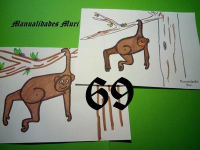 Manualidades. Aprende a dibujar con números: Mono con el 69