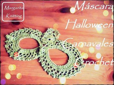 Máscara Halloween o Carnavales a crochet (diestro)