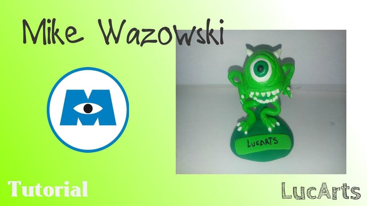Mike Wazowski Polymer clay Tutorial. Mike Wazowski Tutorial con plastilina-porcelana fría.