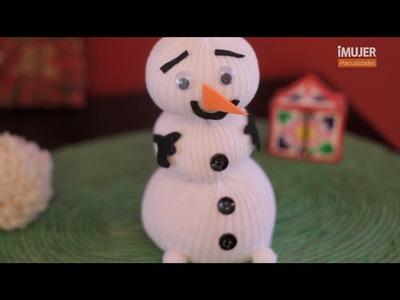 Muñecos de nieve navideños con un calcetín | @iMujerHogar