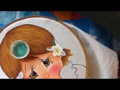 Pintura en tela niña naranja # 3 con cony