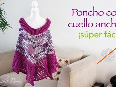 Poncho con cuello ancho tejido a crochet súper fácil!
