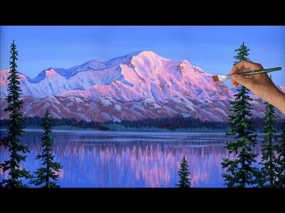 Como Pintar La Montaña Acrílicos Lienzo Nieve Glaciares Hielo Lago Abeto