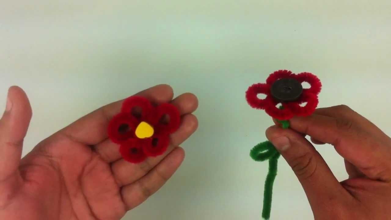 Hacer rosa de limpiapipa - Horquillas en forma de flor
