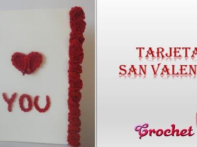 Tarjeta San Valentín crochet (ganchillo)