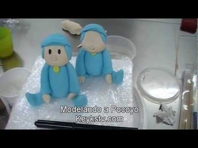 Tarta de Pocoyo con fondant. Pocoyo cake.Modelando a Pocoyo con fondant
