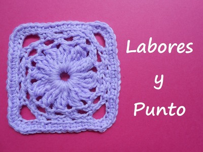 Aprende a tejer este  cuadrado de patchwork 5 a ganchillo o crochet
