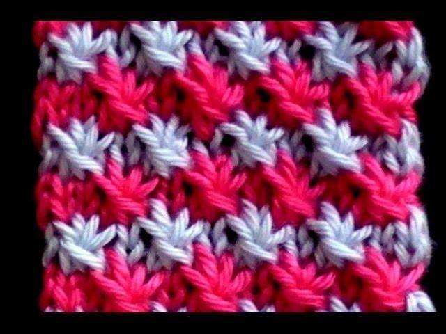 Cómo Tejer Estrellas en Colores-Two Color Star Stitch-2 Agujas(284)
