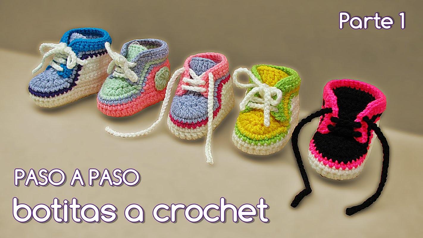 Cómo tejer zapatitos botitas escarpines bebé crochet, ganchillo - VARIOS TALLES (1.2)
