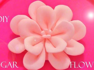 DIY como hacer flores Kanzashi de fondant - how to make fondant flowers Kanzashi
