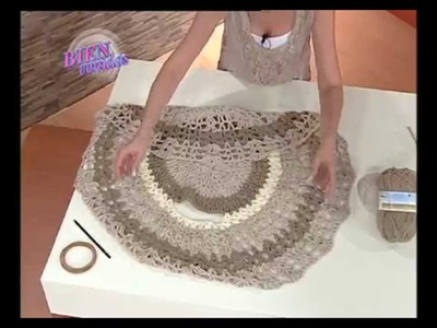 Mabel Gomez - Bienvenidas TV - Explica como hacer un hermoso Chaleco Circular.