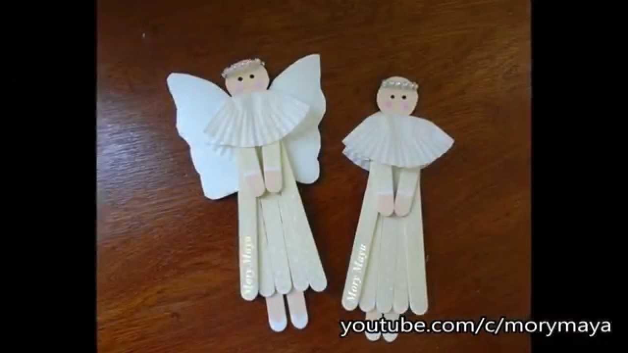 Como hacer angelitos con palillos de paleta, DIY decoración navideña