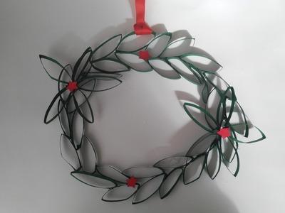 Como hacer corona navideñas con tubos de cartón reciclados tutorial DIY manolidades manualidades