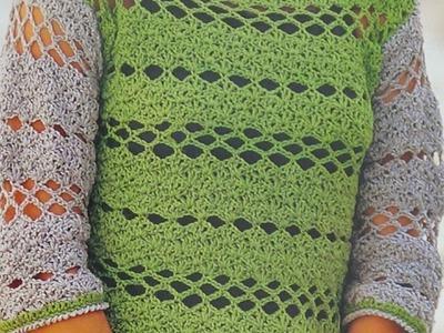 Como hacer Jersey calado a crochet fácil y elegante