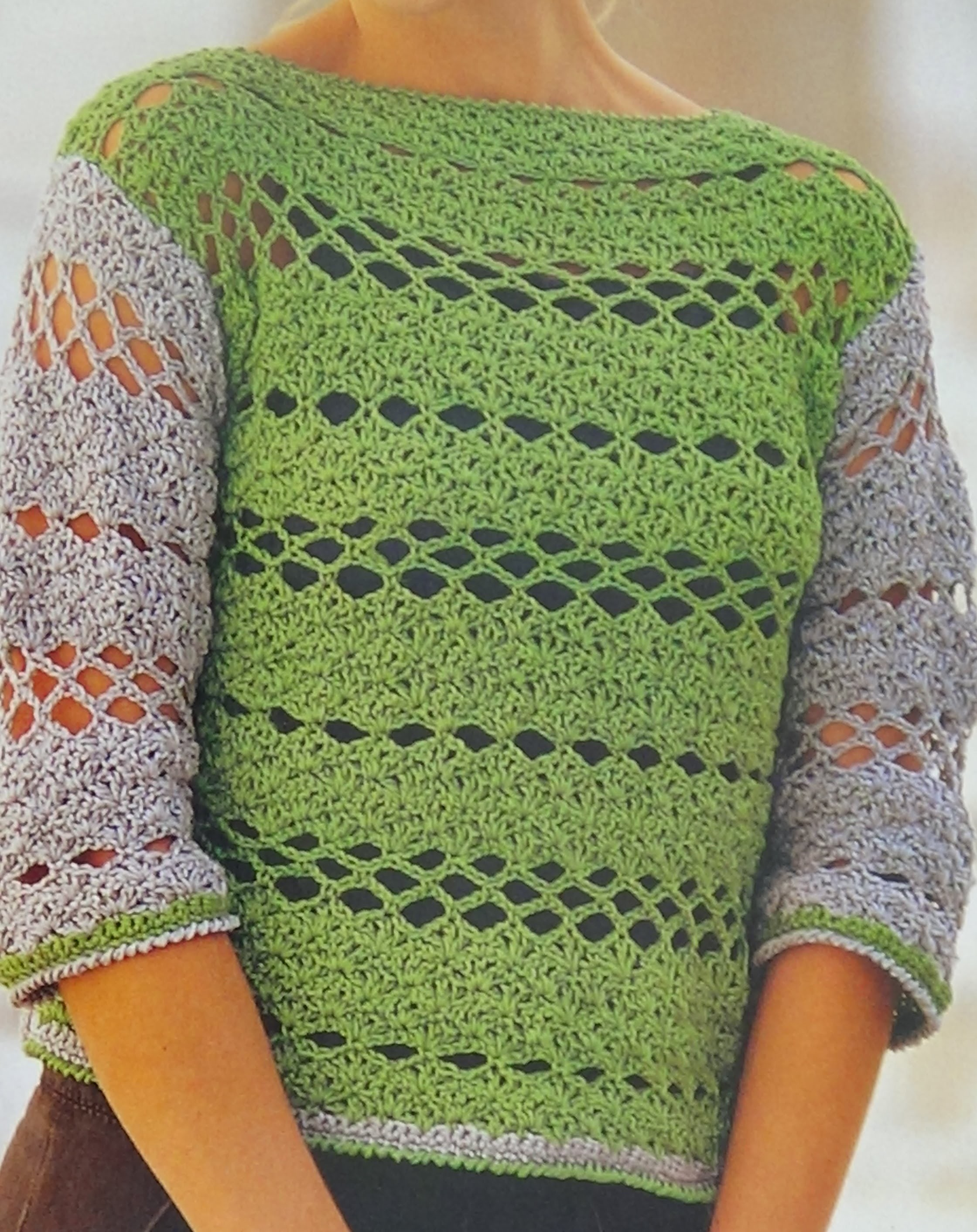 Como hacer jersey calado a crochet f cil y elegante - Como hacer un jersey de punto ...