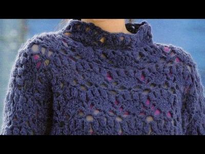 Como Tejer Jersey Calado Con Muestras de Arcos a Crochet