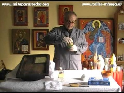 PRIMERA PARTE DE RESTAURACIÓN IMAGEN RELIGIOSA DORADO Y POLICROMADO