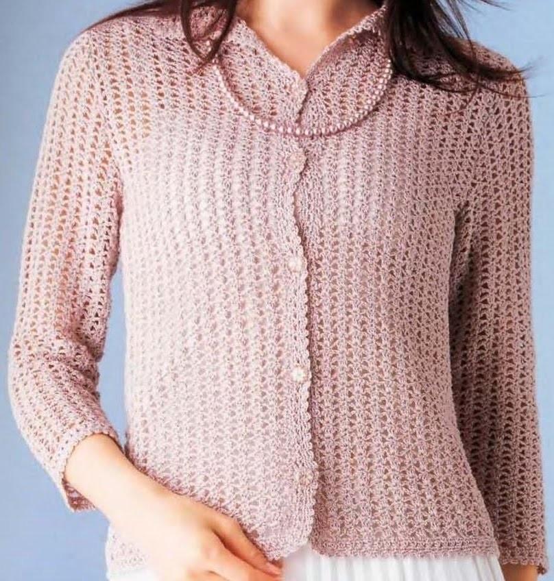 Suéter Rosa Ligero a Crochet