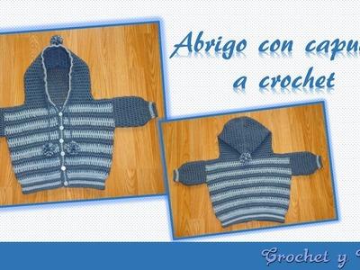 Abrigo o saquito con capucha para bebé a crochet -  ganchillo Parte 3