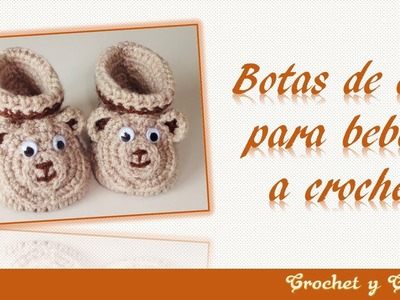 Botas 3D de oso para bebés tejidas a crochet (ganchillo) -  Parte 1
