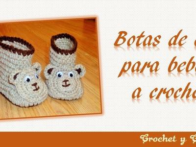Botas 3D de oso para bebés tejidas a crochet – ganchillo ☻ Parte 2
