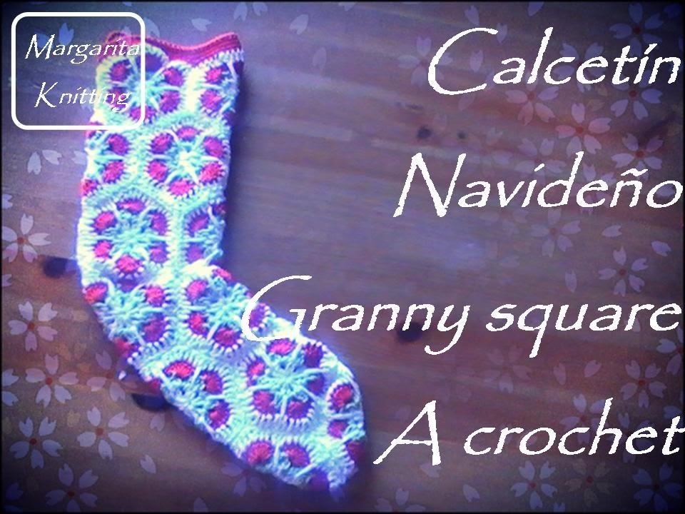 Especial Navidad: calcetín navideño granny square a crochet (diestro))