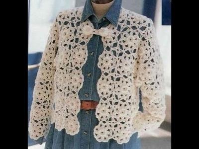GRÁFICOS para tejer saco unión de flores a crochet