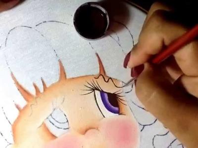 Pintura en tela niña calabaza # 1 con cony